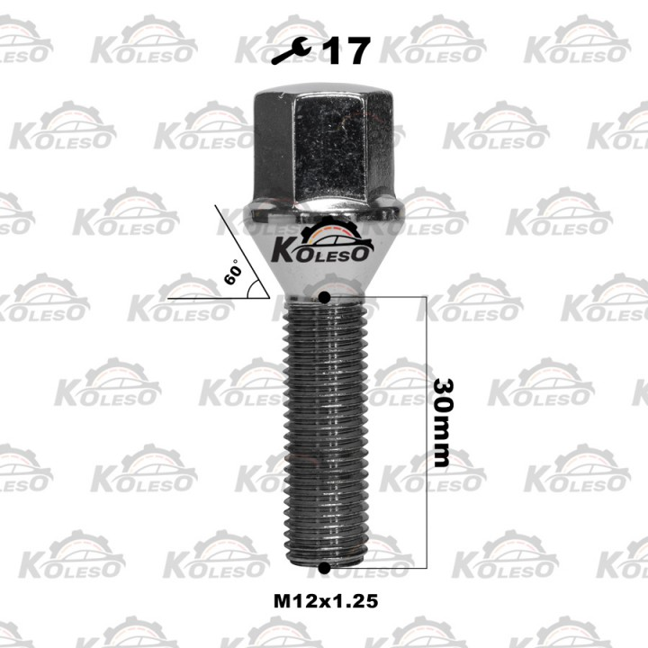 Болт М12x1,25 L=30 конус ключ 17мм. хром