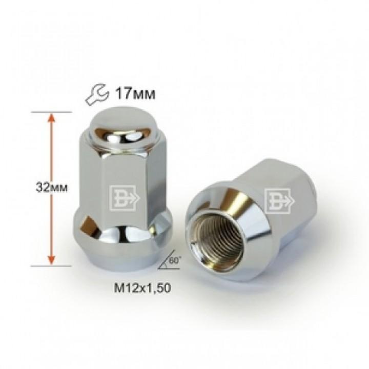 Гайка  м12x1,5 конус 60° закрытая L=32 ключ 17мм.