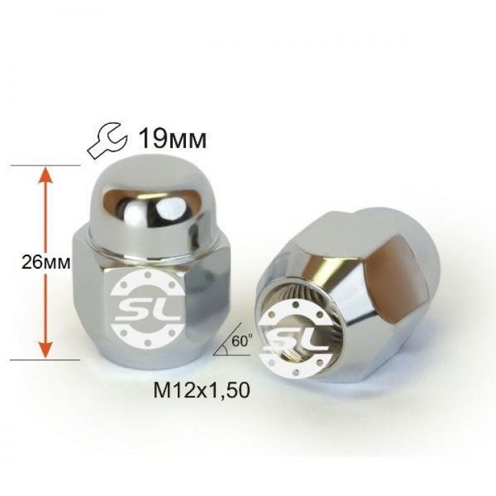 Гайка  м12x1,5 конус 60° закрытая L=26 ключ 19мм.